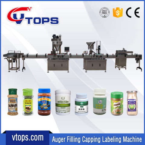 Auger Powder Filling Capping Labeling Machines Line