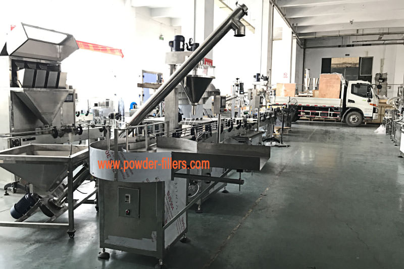 The Real Photo on Scene of Powder Bottle Filling Capping Sealing Labeling Machine Line