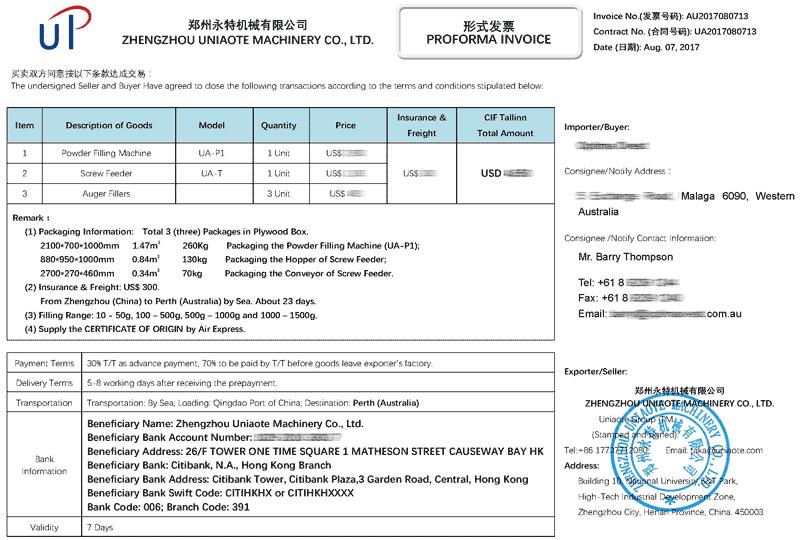 proforma invoice for export